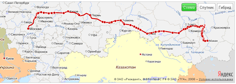 Схема движения поезда